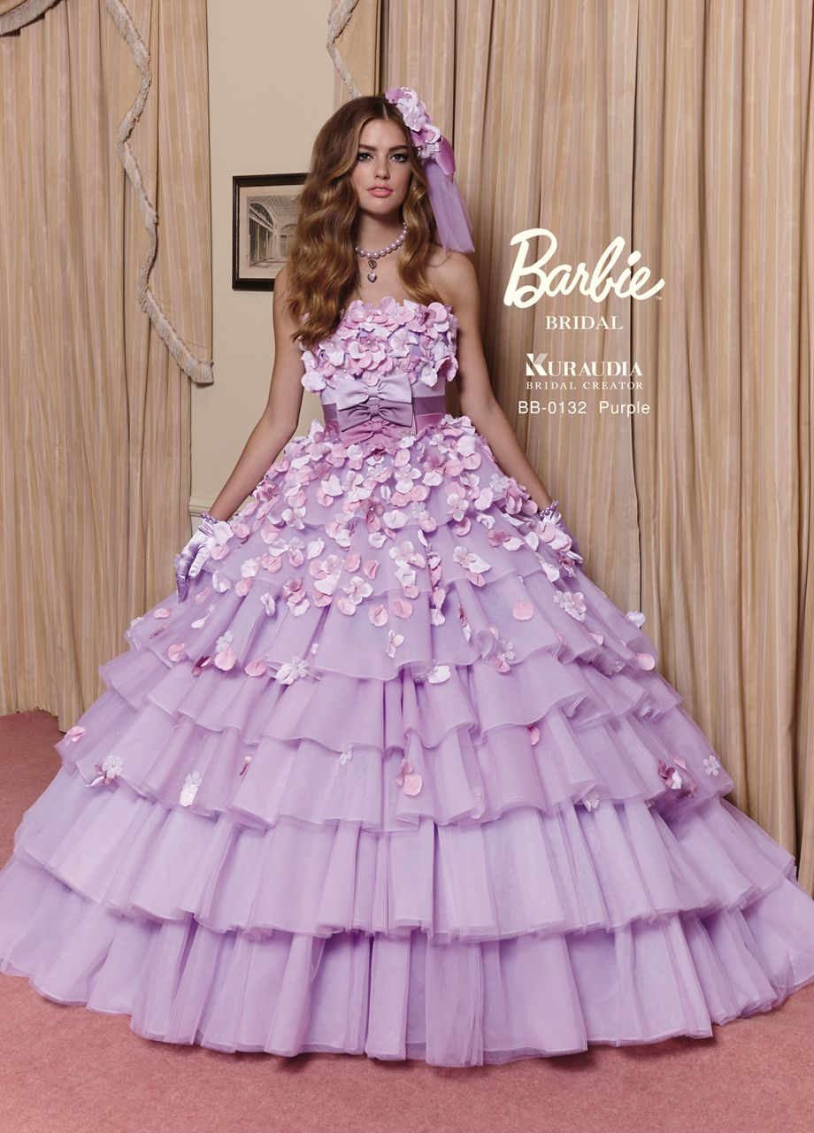 Barbie bride wedding gown with ruffle and purple colour for Pink ruffle wedding dress
