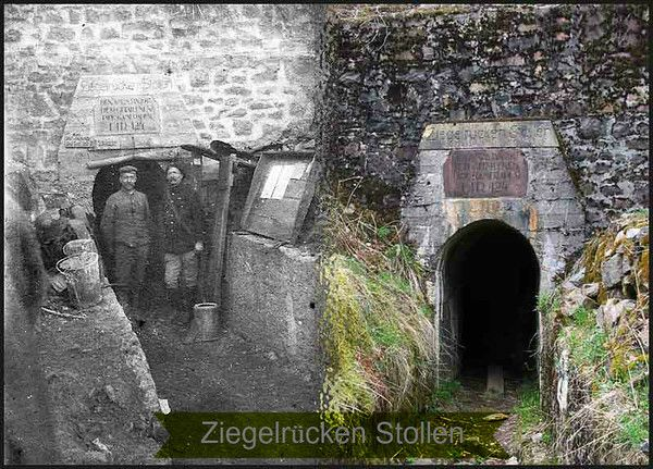 """The 100th anniversary of World War I is this month. We're creating a photo montage of photographic memorabilia related to WWI battles. This is the Ziegelrücken Stollen in Alsace Lorraine and is happens, a """"then and now"""" window into the great war courtesy of my Great Grandfather (pictured on the right in the dark jacket) who not only fought at the Ziegelrücken Stollen in the battle of the Hartmannswillerkopf (the Viel Armand), but also Le Linge and quite a few other battles."""