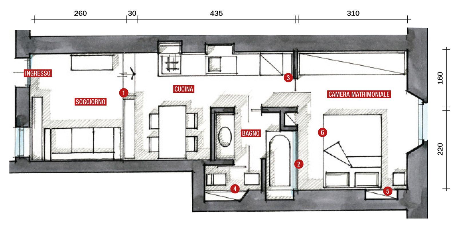 Una casa di 35 mq sfruttati al massimo architettura for Piantine case