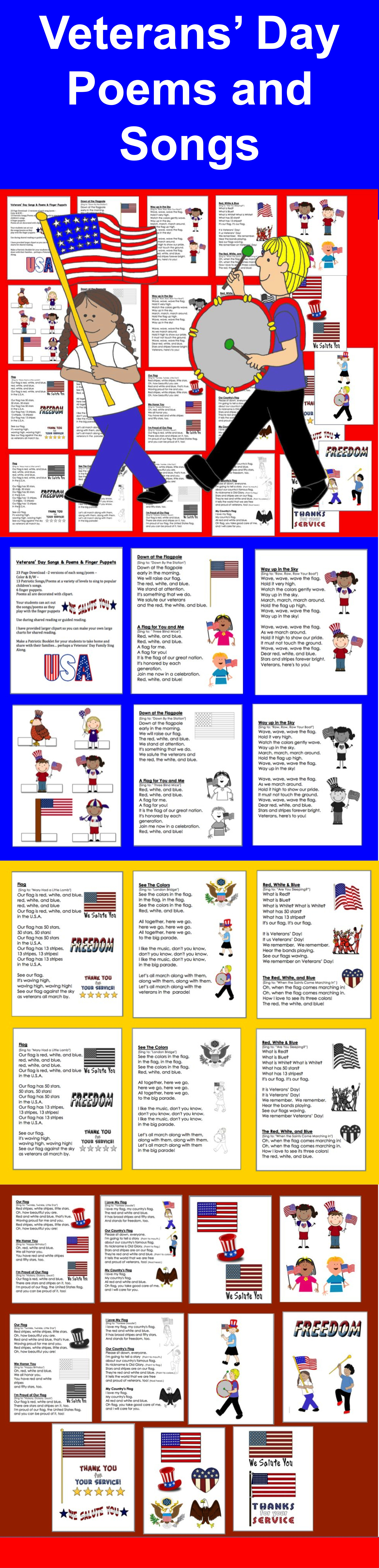 3 00 Veterans Day Songs And Poems And Finger Puppets