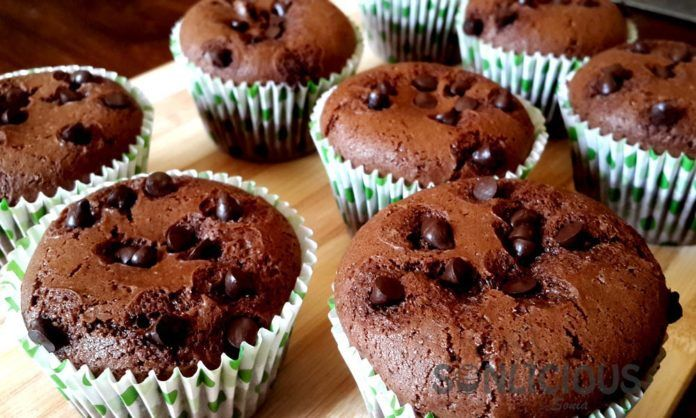 Chocolate Eggless Muffins Without Condensed Milk Chocolate Chip Muffin Recipe Eggless Baking Eggless Muffins