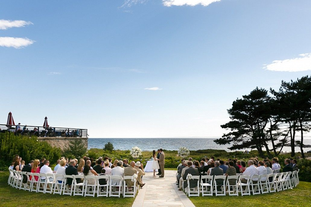 The Outdoor Ceremony Site Looks Out Over Ocean For Your Maine Destination Wedding At