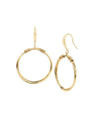 Robert Lee Morris Soho Gypsy Wire Wrapped Goldtone Drop Hoop Earrings
