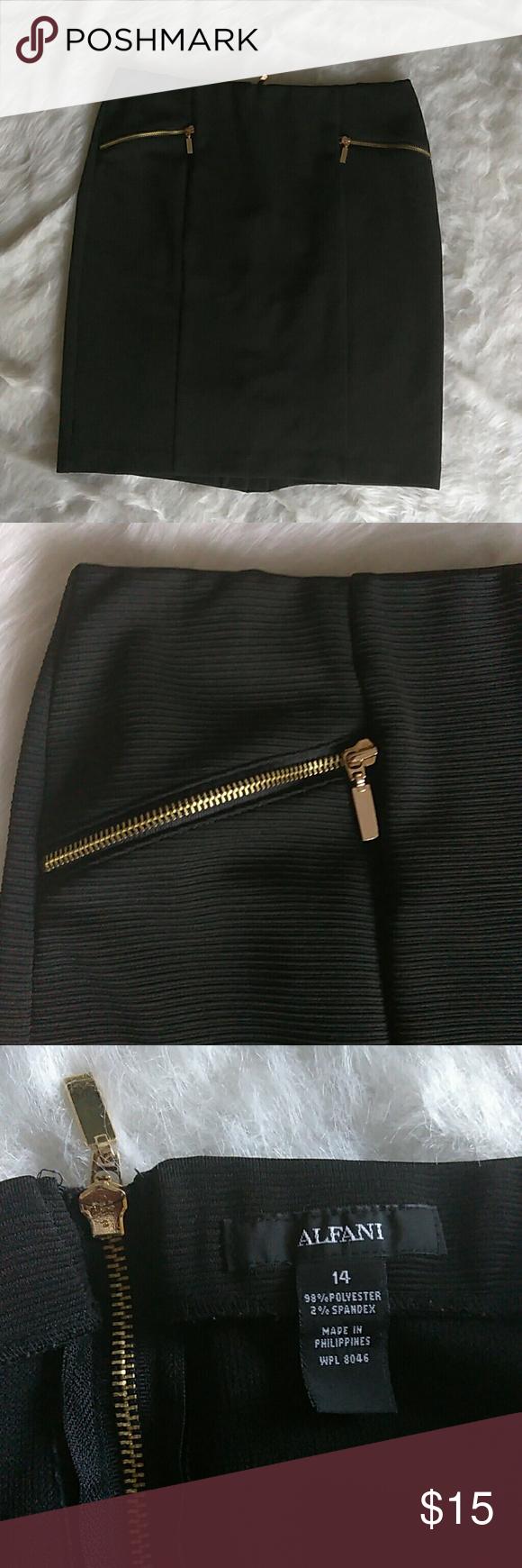 Alfani black women's skirt with gold zipper accent Alfani black Women's Skirt for career or a night out.  Gold zipper accents.  Size 14 or Women's Large.  98% polyester and 2% Spandex. Alfani Skirts Midi