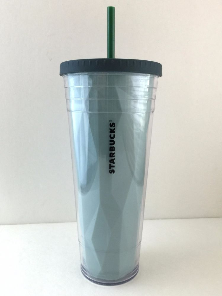 Big Blue Starbucks Logo Cold Cup Tumbler With Screw On Lid