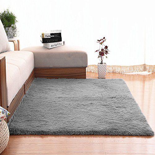 Kids Bedroom Decor Soft Area Rugs Nuokim Nursery For Baby Thin Carpet Bedrooms 4 X 5 3 Feet Gray Kidsbedroom