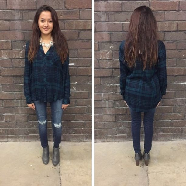 The navy and olive colors in this plaid top are so pretty together! - $39 #winterfashion #winter  #fashionista #shoplocal #aldm #apricotlaneboutique #apricotlanedesmoines #shopaldm #desmoines #valleywestmall #fashion #apricotlane #newarrival #sweaterweather #shopalb  #ootd #westdesmoines  #shopapricotlaneboutiquedesmoines #ontrend