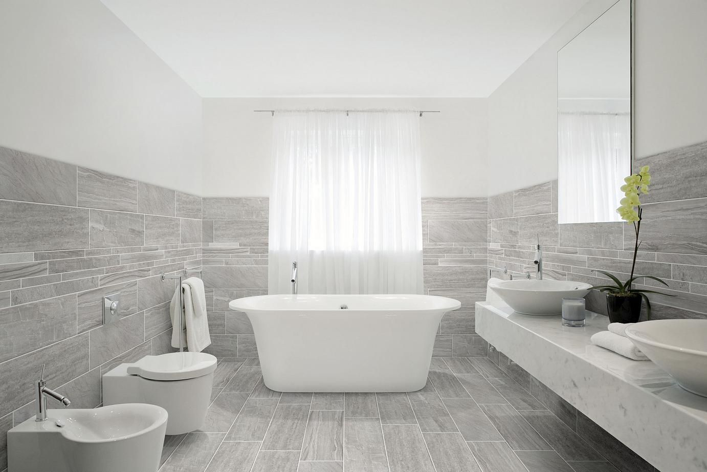 Wood plank porcelain tile that looks like wood planks for Bathroom designs white