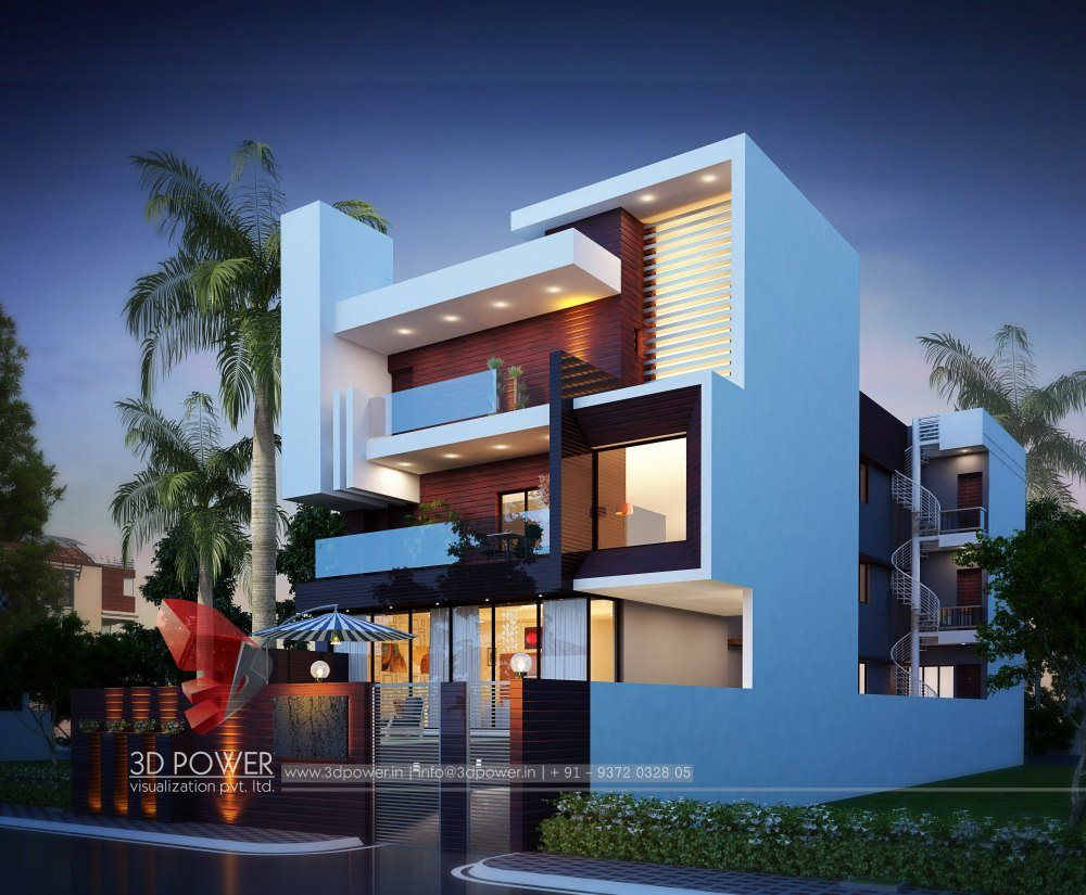 Modern Bungalow Design Night Render Bungalowexteriordesignmodern