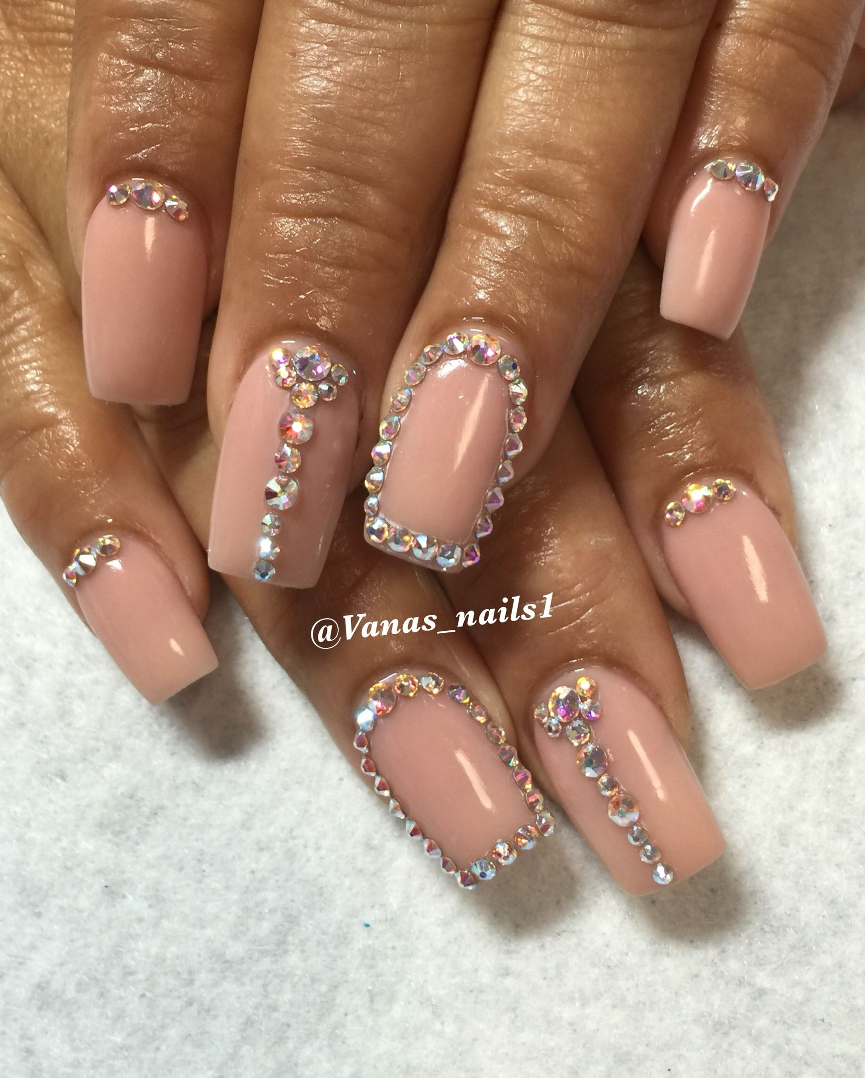 Nude & swarovski nail design Bling nails | Vana\'s nails | Pinterest