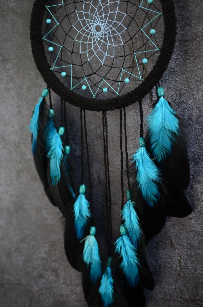Black dream catcher bedroom decor. Turquoise birthstone gift. | Etsy