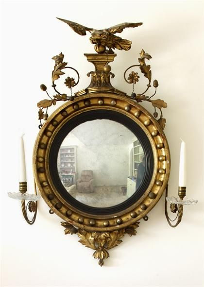 Classical Giltwood Girandole Convex Mirror First Quarter