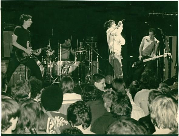 Black Flag - Ron Reyes vocals, Greg Ginn guitar, Robo drums and Chuck Dukowski bass at the Whisky A Go Go in 1979
