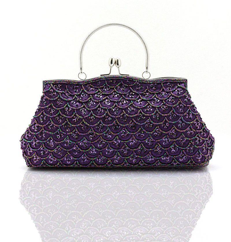 New Design Purple Women S Banquet Wedding Evening Bag Clutch Handbag Stylish Beaded Sequined Bride Party Purse Makeup 2564