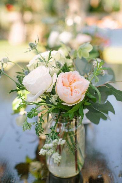 Spring Wedding Centerpiece Idea Simple Mason Jar With Pink White P Wedding Centerpieces Mason Jars Peonies Wedding Centerpieces Flower Centerpieces Wedding