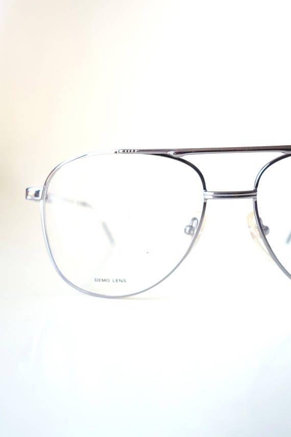 3cc64d56fa9 Aviator Glasses for Men - 1980s Oversized Aviator Frames - Silver ...