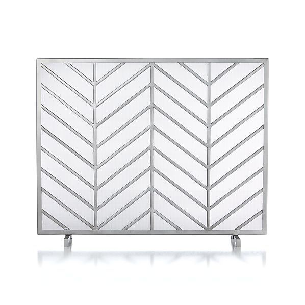 Chevron Fireplace Screen - Crate and Barrel - Chevron Fireplace Screen - Crate And Barrel Pewter, Places And