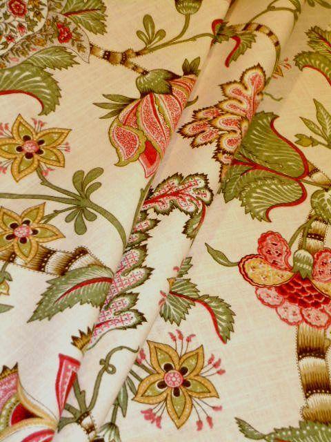 P Kaufmann Pattern Clarice English Cream, linen blend print decorating fabric see at http://store.schindlersfabrics.com/pkapaclencr.html  #PKaufmann #LinenFabric #FloralFabric #PrintFabric