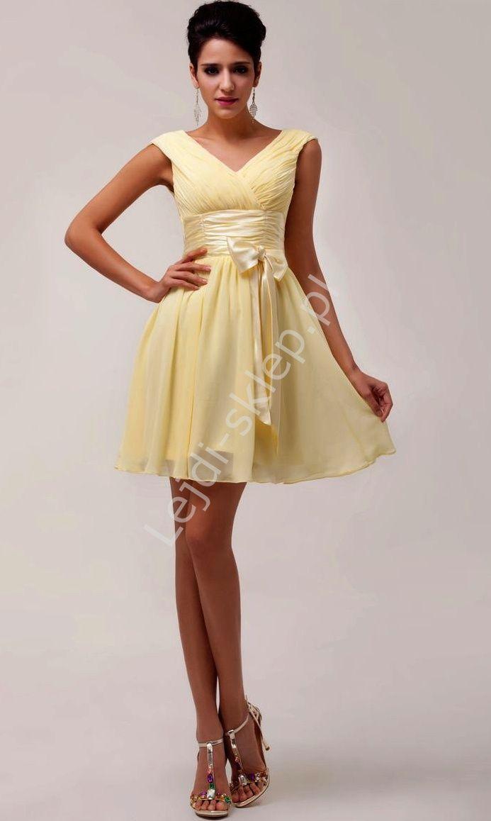 26512207a2 Żółta sukienka szyfonowa