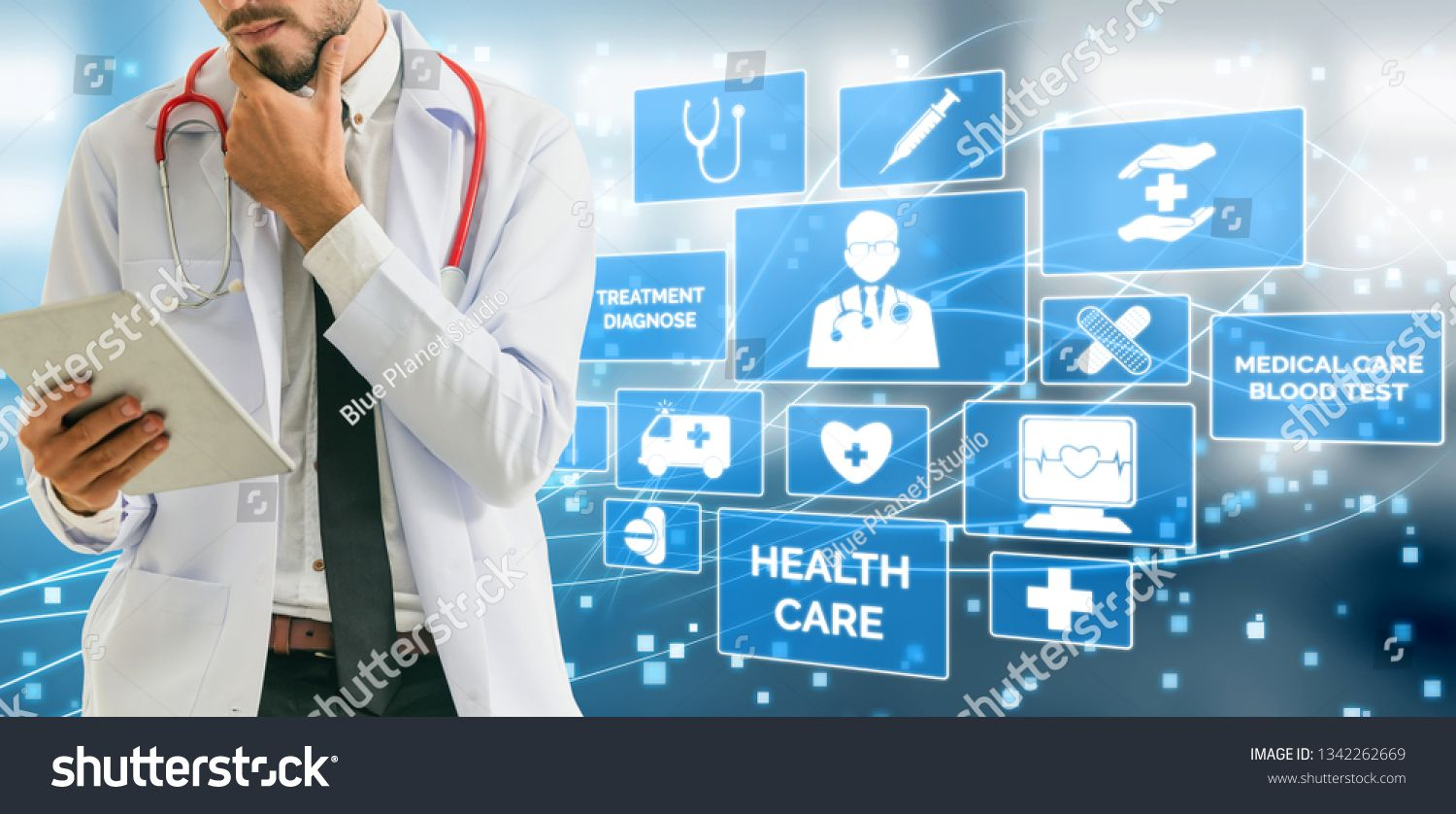 Medical Healthcare Concept Doctor In Hospital With Digital Medical Icons Graphic Banner Showing Symbol Of Medicine Medical Medical Icon Medical Health Care