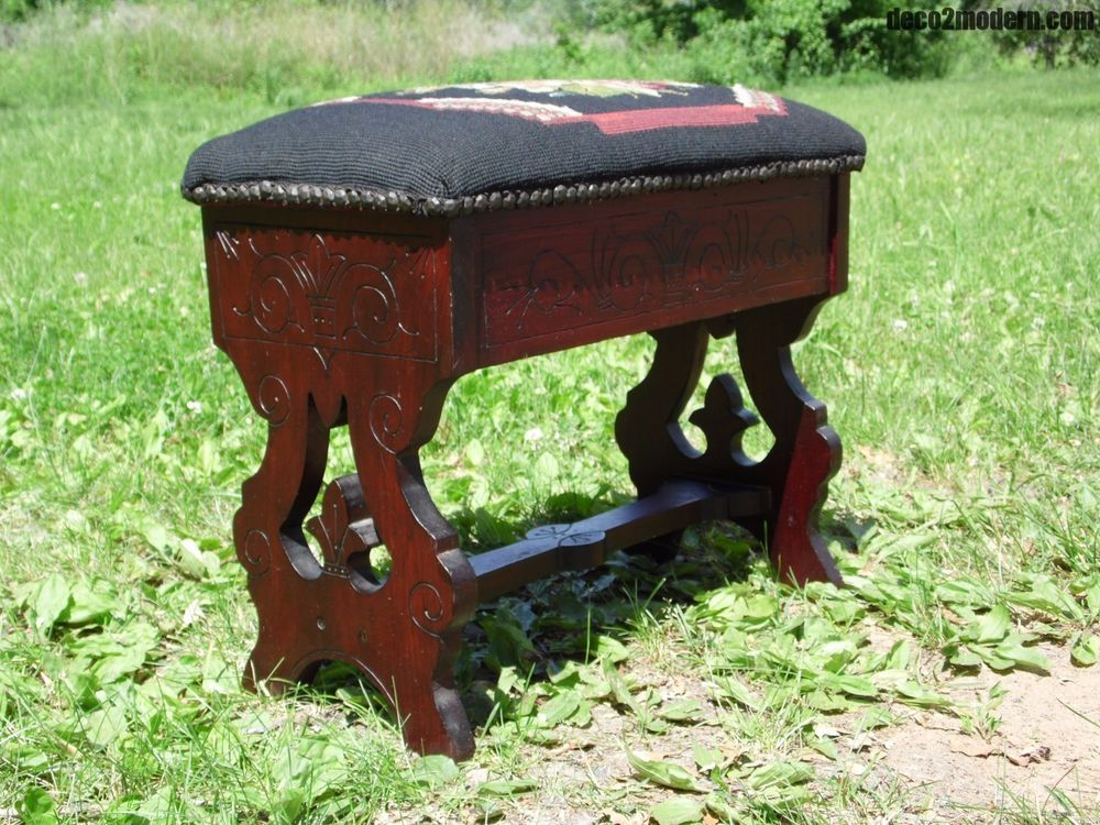 Antique Victorian Needlepoint Eastlake Slipper Bench Sewing Stool Footstool  Open #Victorian