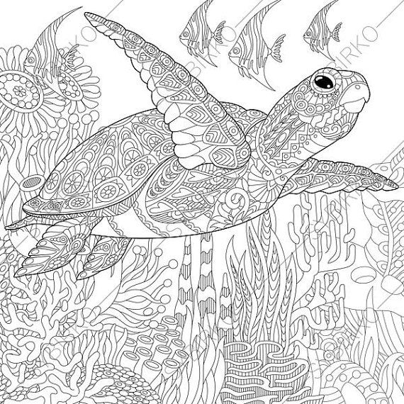 Coloring Pages For Adults Digital Coloring Pages Sea Ocean Etsy Turtle Coloring Pages Ocean Coloring Pages Animal Coloring Pages