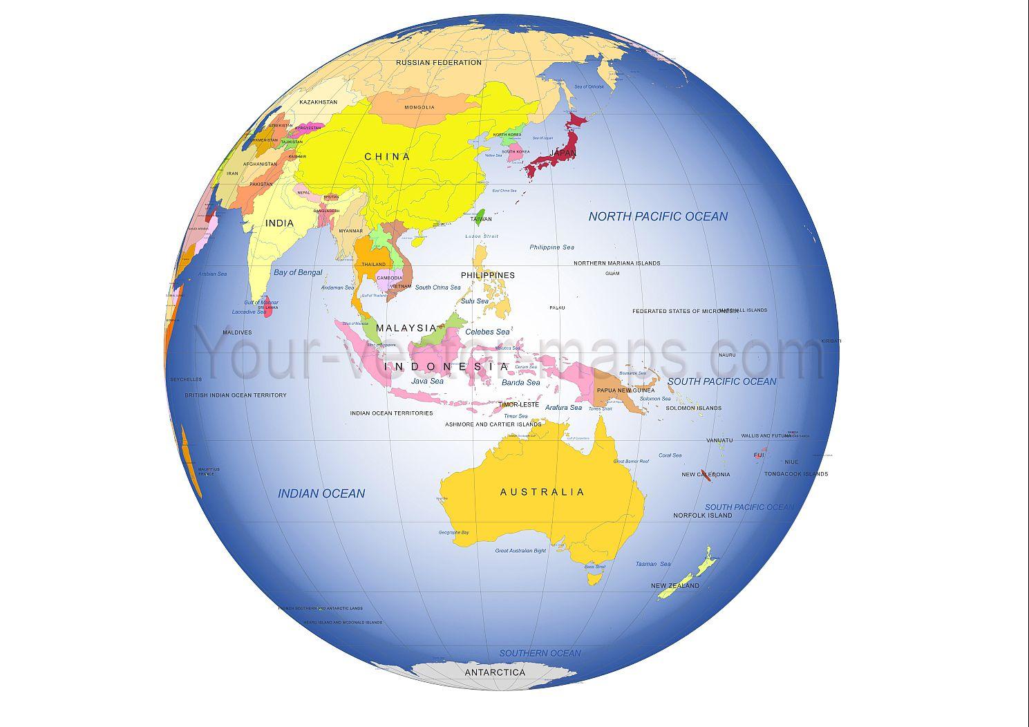 australia centered globe map