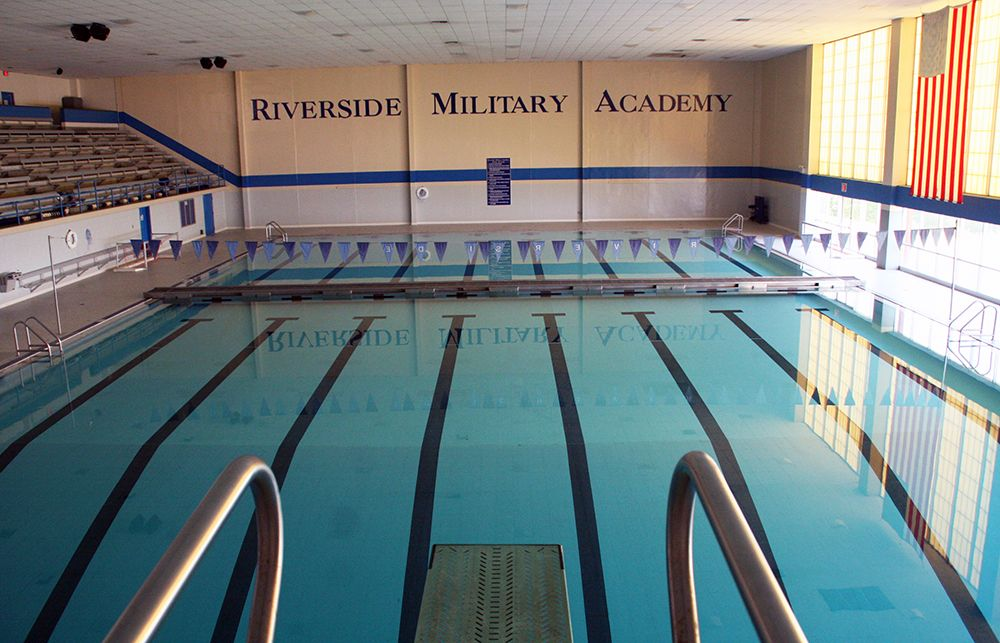 Indoor swimming pool in the Riverside Military Academy