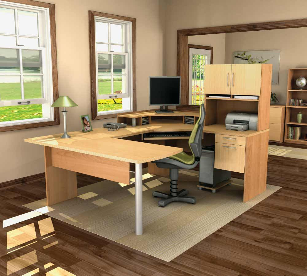 Cool Computer Desk Design Ideas For Modern Work : Rendering Home Office  Design With U Shaped