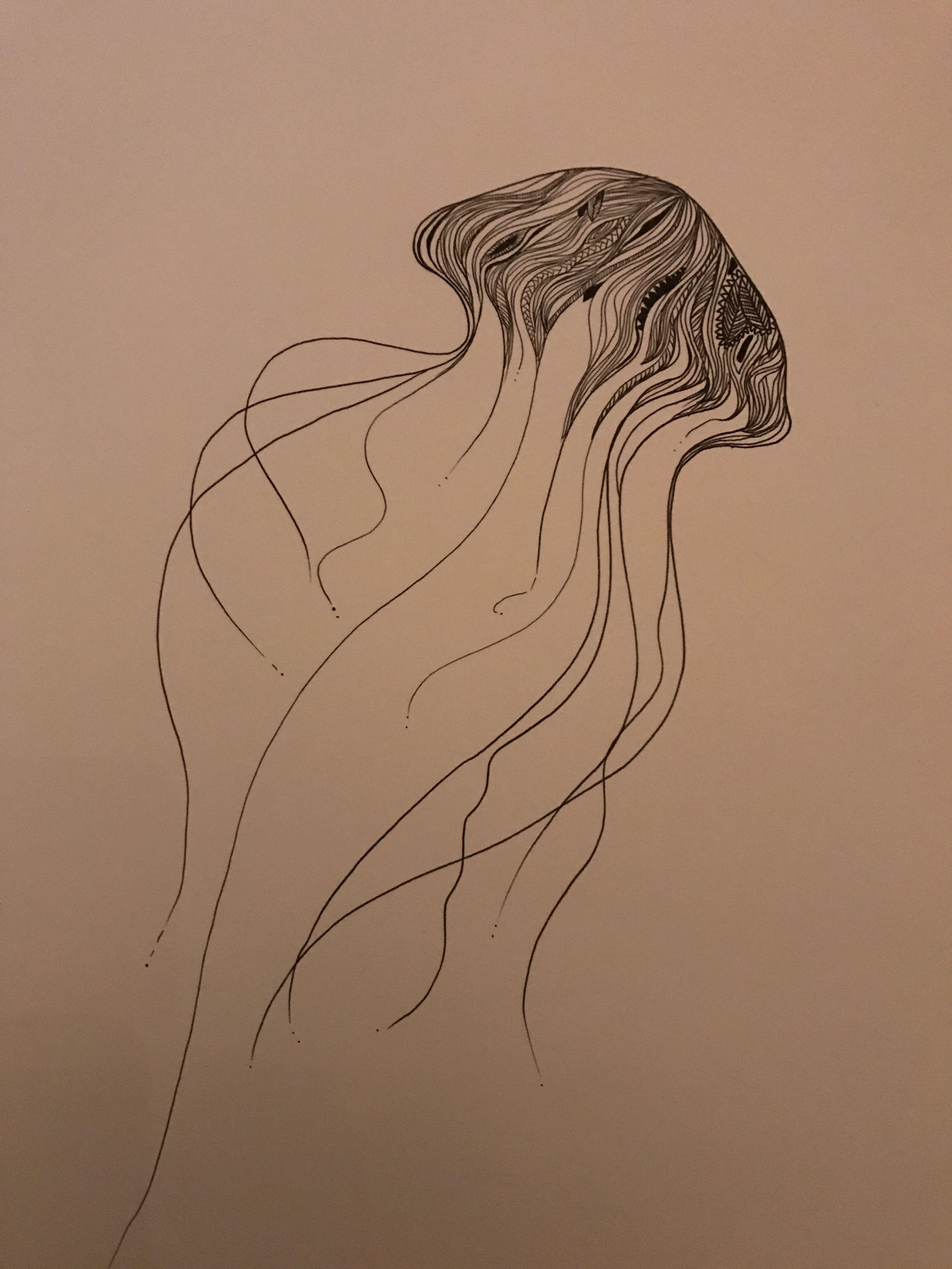 Line Drawing Jellyfish : Floaty jellyfish drawing sztuka