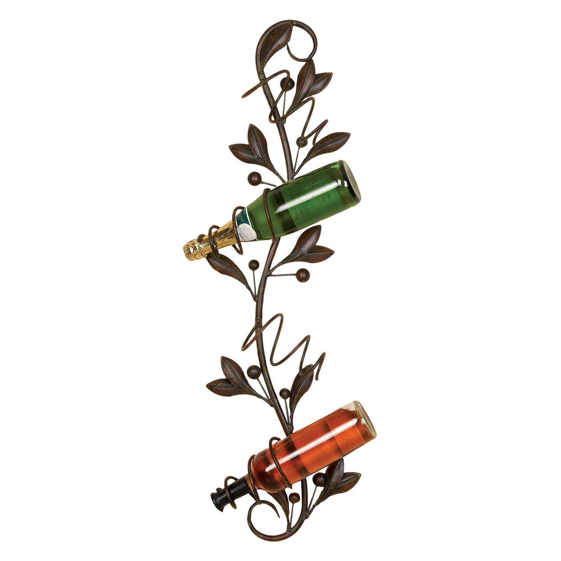 Woodland imports basillio vine and leaves bottle metal wall wine