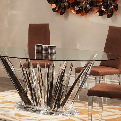 Crystals Oval Dining Table   Oval glass dining table ...