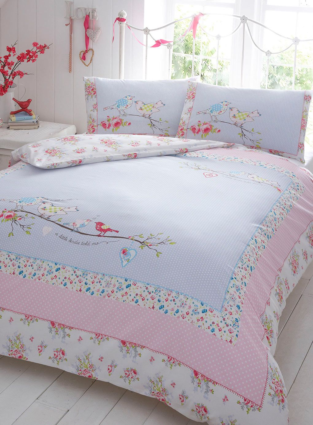 Pink A Little Birdie Told Me Bedding Set - vintage - bedding sets ... : bhs quilted bedspreads - Adamdwight.com