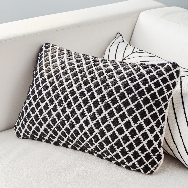Coussin Doba Inspire Blanc Noir L 45 X H 30 Cm Coussin Noir Et Blanc Coussin Blanc