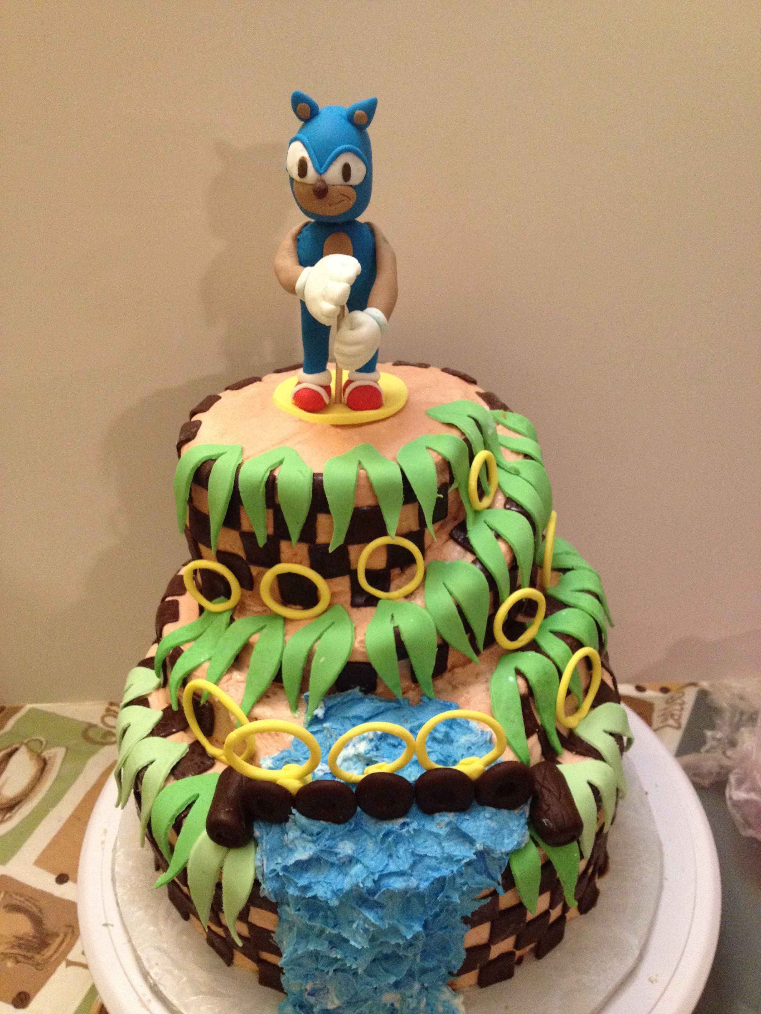 Sonic The Hedgehog Birthday Cake For Nephews Birthday 3 Layers Of Yellow Cake And 2 Top Layers Of Spice Cake With Hedgehog Birthday Butter Cream Birthday Cake