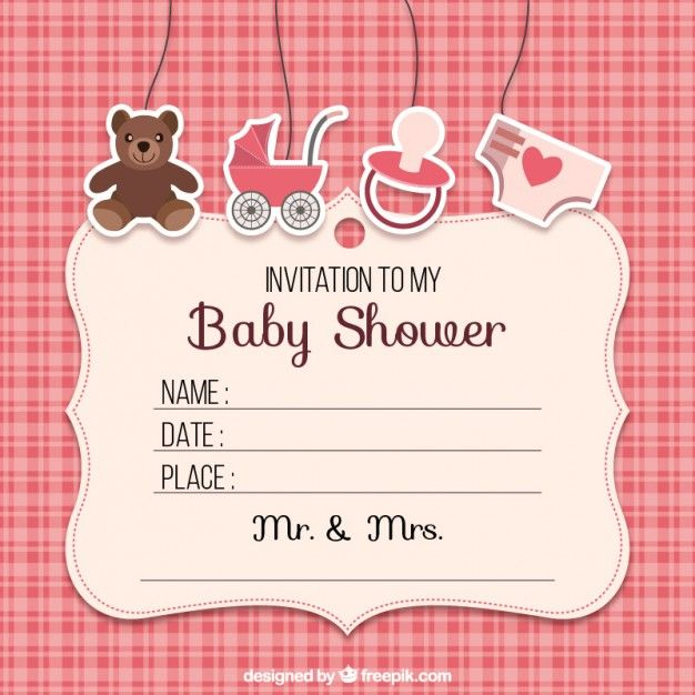 Ideas Tarjetas Baby Shower.Baby Shower Invitation With Elements Free Vector Baby