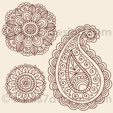 920e4c4e3 Mehndi Henna Tattoo Paisley Doodles Illustration by blue67design by  blue67design, via Flickr