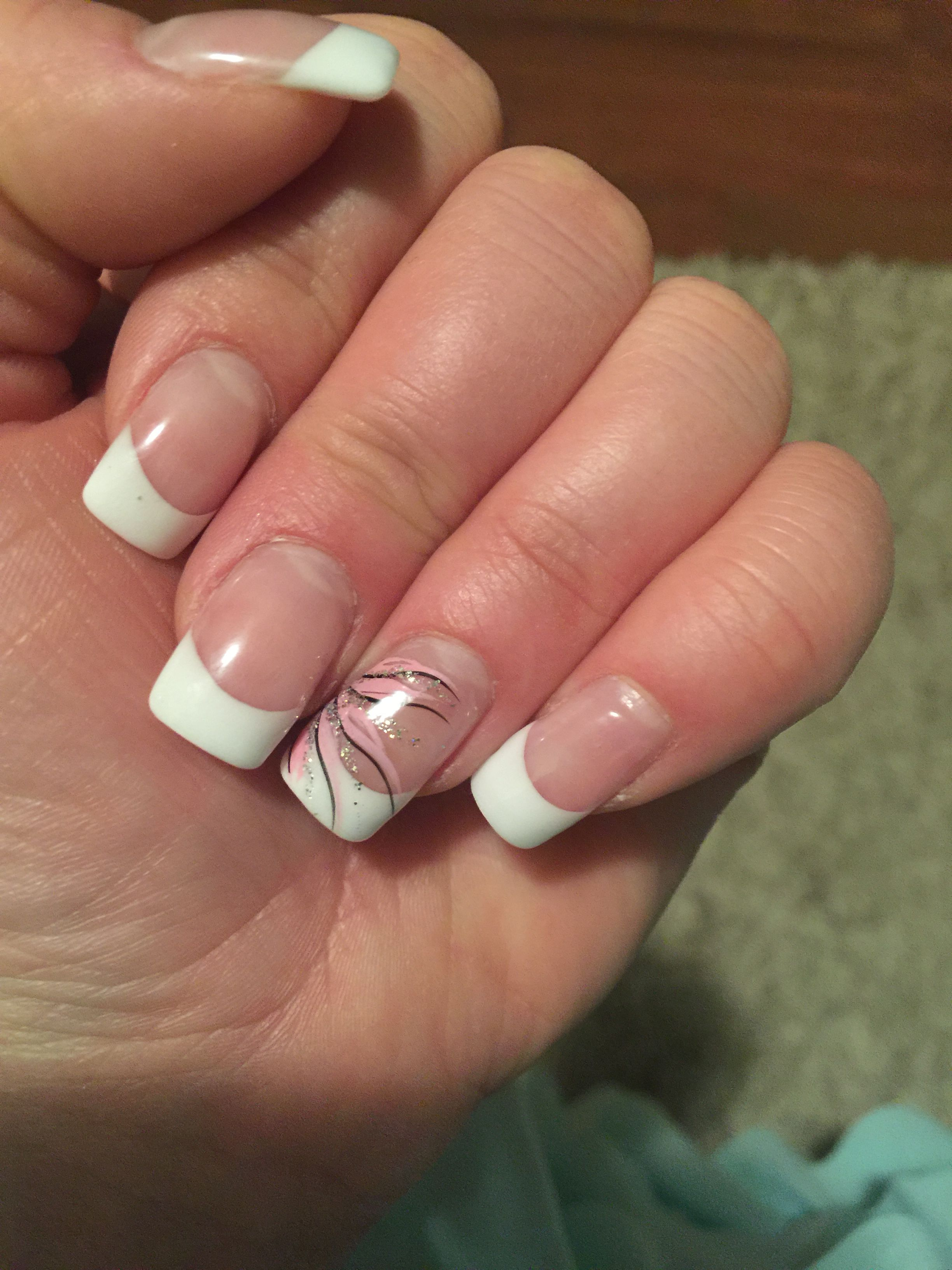 french manicure shallac gel nails with pink sparkly ring finger