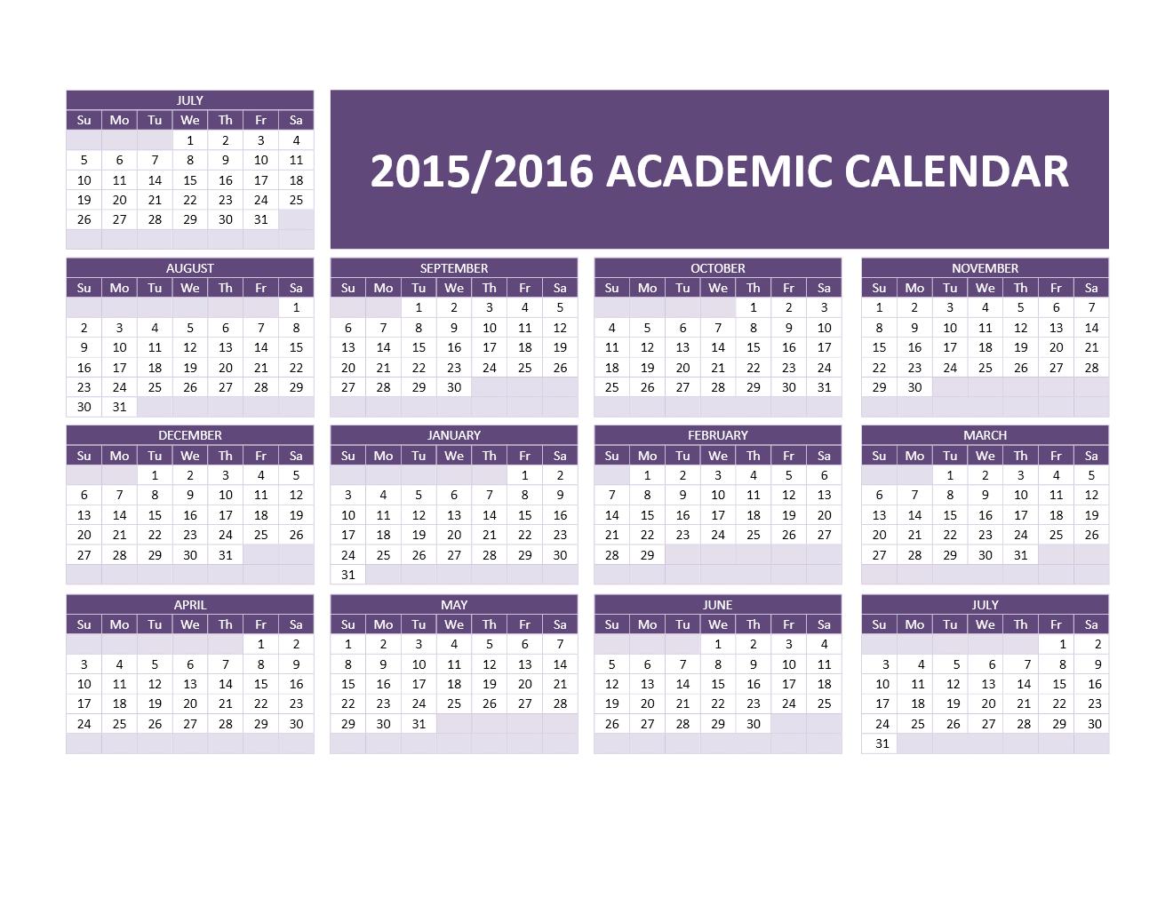 2015 2016 Academic Calendar Wordg 13201020 Teaching Pinterest