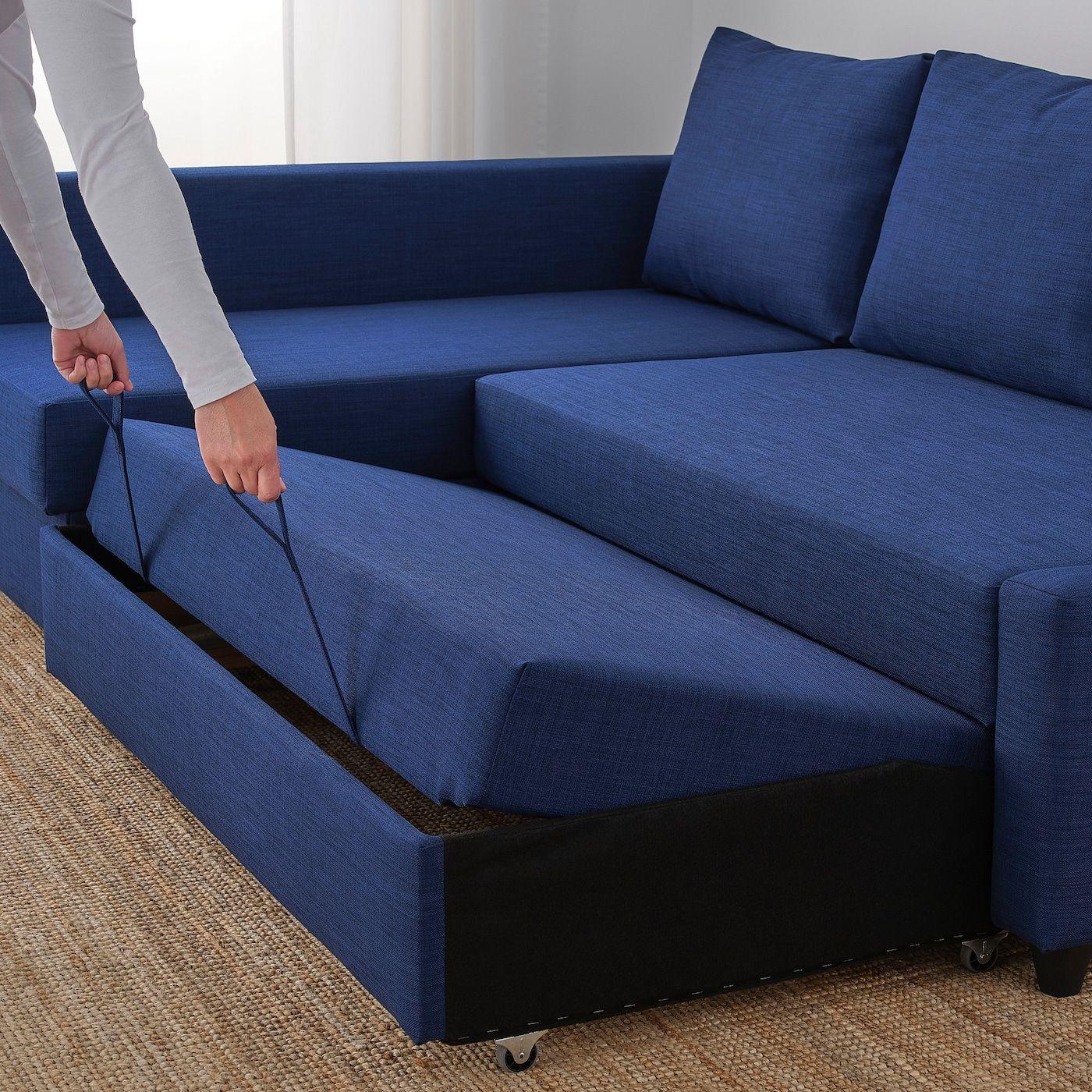 Friheten Sleeper Sectional 3 Seat W Storage Skiftebo Blue In
