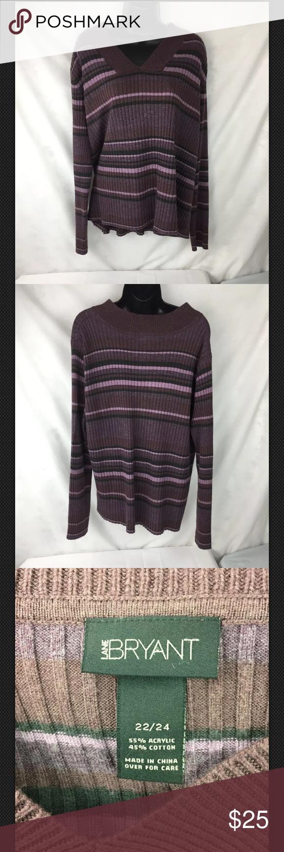 22//24 Lane Bryant Striped V Neck Sweater