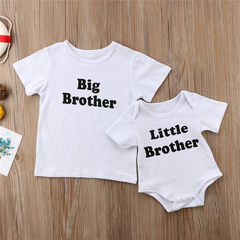 Family Summer Tops A Juego Pequeno Grande Mameluco Hermano Camiseta Ropa De Nino Recien Nacid Baby Boy Clothes Newborn Matching Family Outfits Baby Boy Outfits
