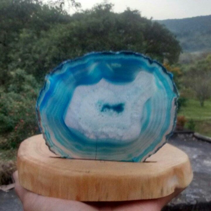 Blue Agatea Slice tea light candle holder
