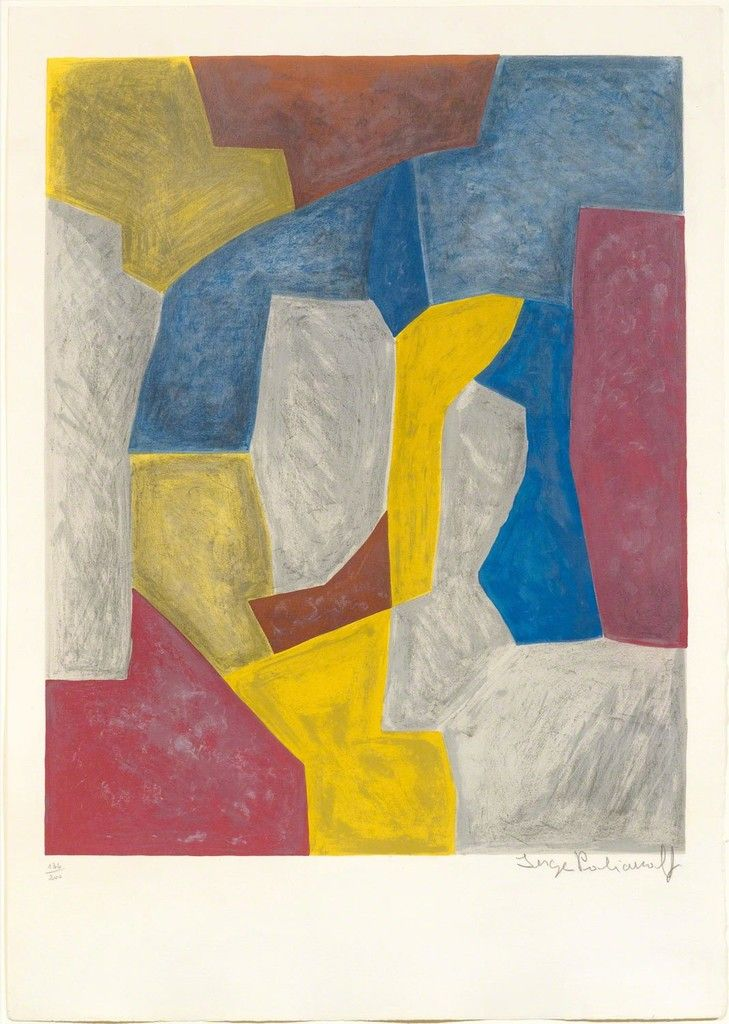 Serge Poliakoff, Composition in carmine red, yellow, grey and blue, 1959, Koller Auctions: Prints, Multiples & Photography