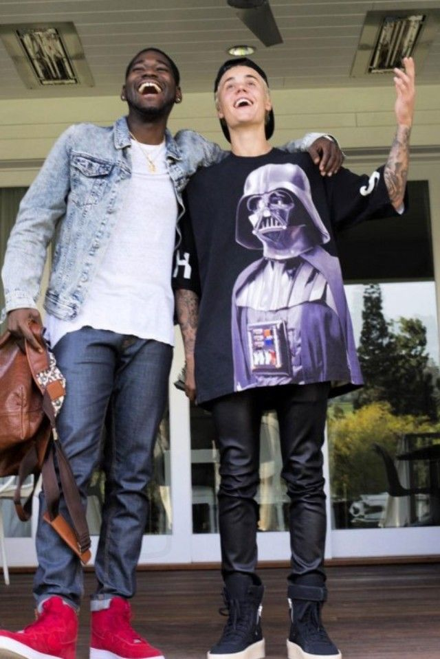 Justin Bieber wearing Undercover Darth Vader Tee, Fear of God Military Sneakers