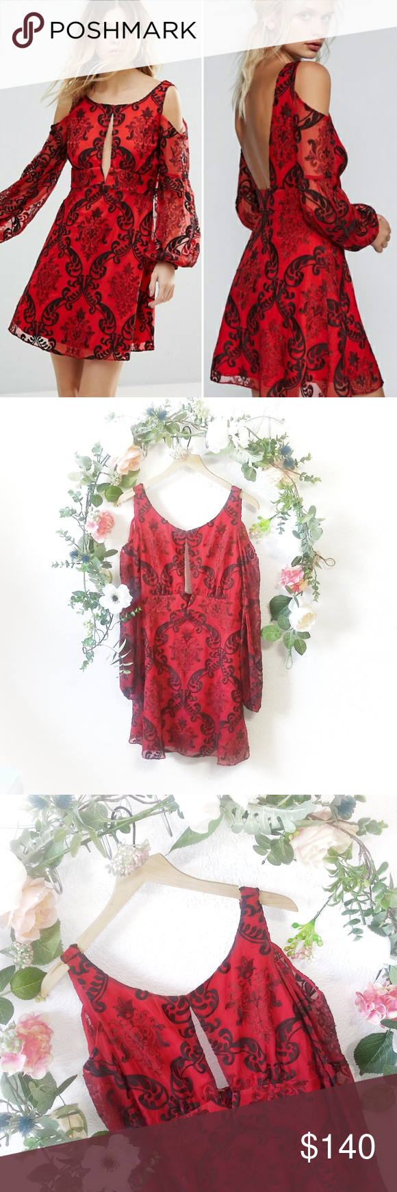 Free People Want to Want Me Mini Dress NO TRADES New with tags Size12 Details from siteFit and Flare mini dress featuring all over embroidery detailing cold shoulder styl...