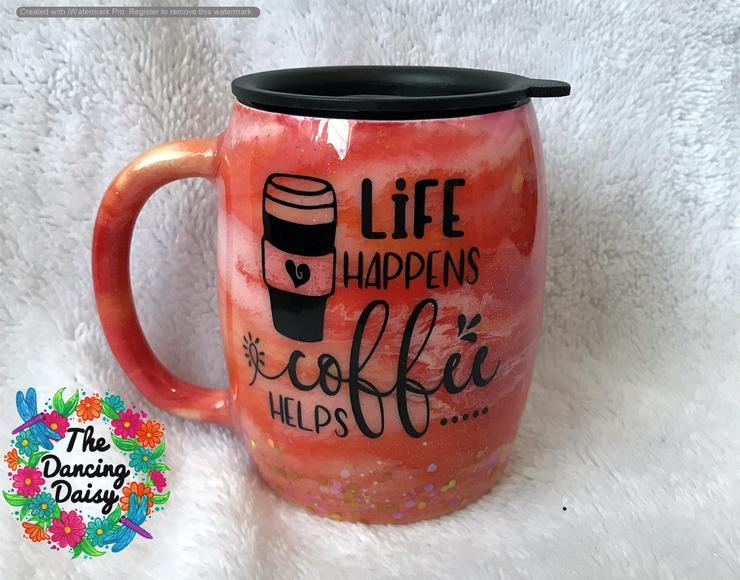 Custom Vinyl Car Decal for Coffee Mug Tumbler Gift Life Happens Coffee Helps