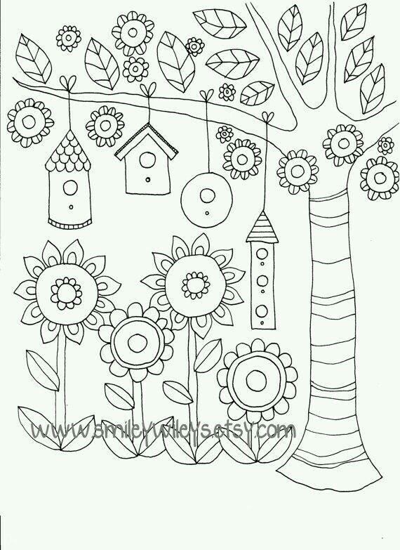 Bird Houses | Pinturas para colorir, Pintura de árvores ...