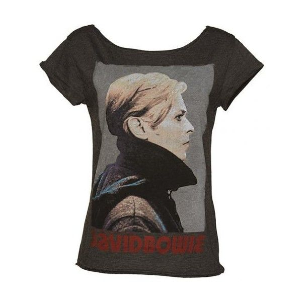 f03f7b76 Ladies Charcoal David Bowie Skater T-Shirt from Amplified Vintage ($58) ❤  liked on Polyvore featuring tops, t-shirts, charcoal tee, vintage tops, vintage  t ...