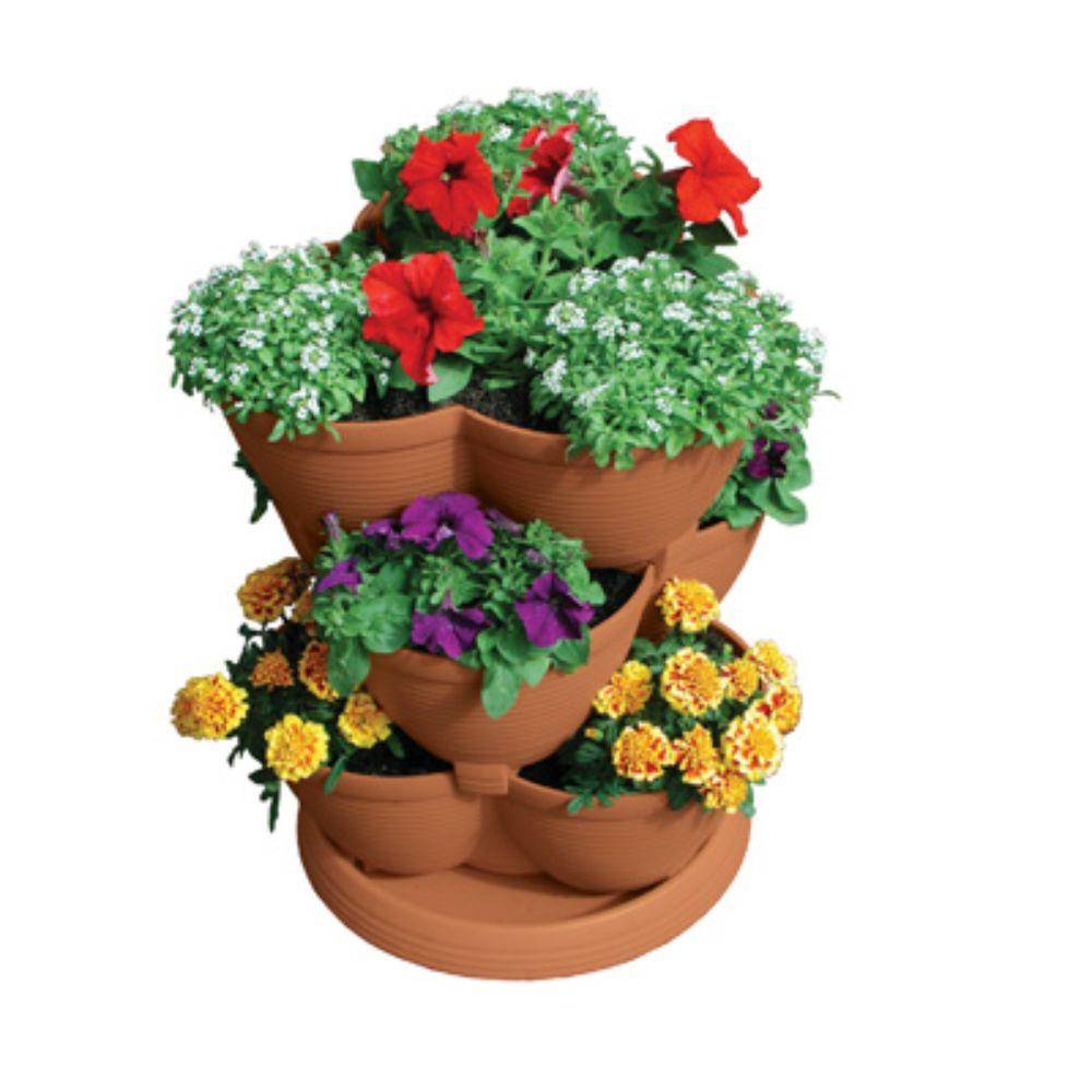 Stack A Pot Medium Clay 3 Tier 12 In W X 12 In D X 24 In H 30 Qt Stackable Planter Rzjmed0 The Home Depot Tiered Planter Stackable Planters Garden Planter Boxes